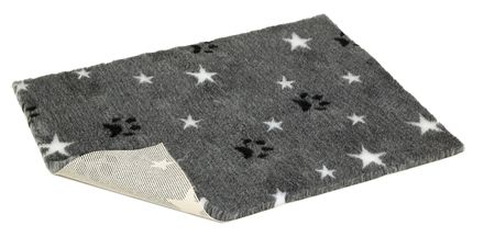 Vetbed® Non-Slip grey with white stars and paws 100 x 150 cm